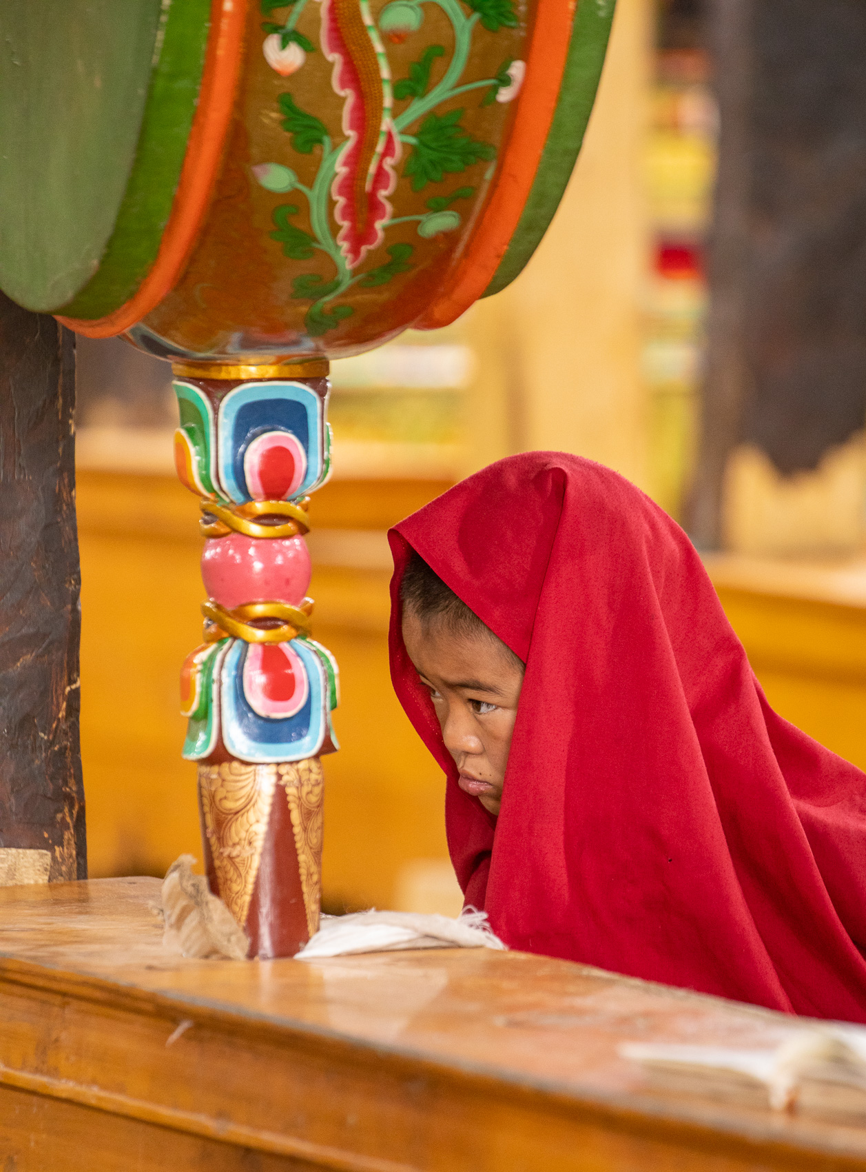 India-Ladakh-Leh-Monk-Shawl-Drum
